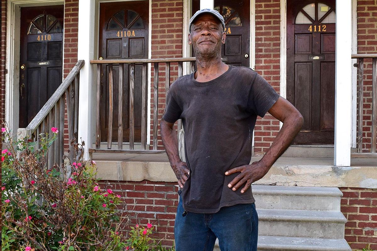 homeless man receiving housing services